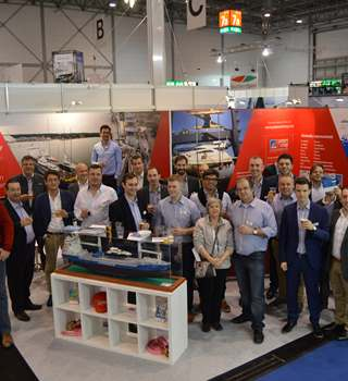 The Peters & May team and visitors at Dusseldorf Boat Show