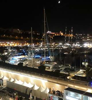 Night scene at Monaco Yacht Show 2017