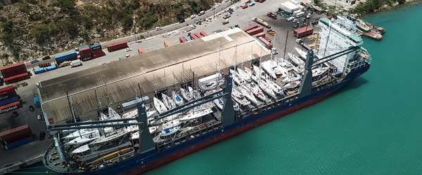 52-yachts loaded on to MV Kingfisher for shipment to Southampton from Antigua