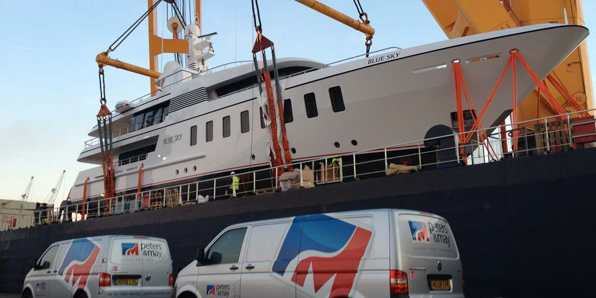 Superyacht 'Blue Sky' shipped by Peters & May
