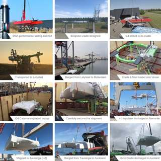 End-to-end journey of a G4 Catamaran's shipment (Lelystad to Auckland) Collage