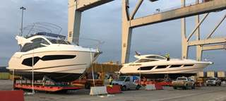 Two beautiful Sunseekers ready to be loaded - yacht transportation