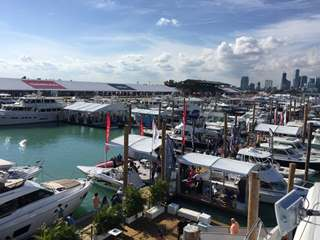Jetty full of yachts at Miami Boat Show 2018