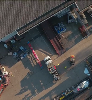 Birds eye view of the Peters & May Warehouse & Yard