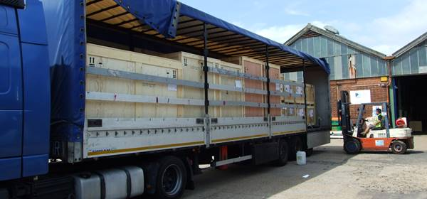 Crates loaded into lorry ready for transport