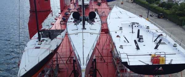 Yachts loaded onto vessel deck