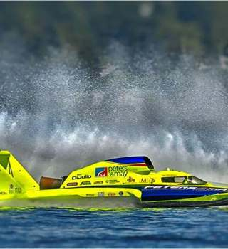 Peters & May sponsored U11 powerboat in action
