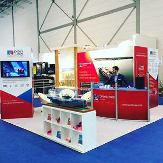 Peters & May's stand at Dusseldorf Boat Show ready to recieve visitors