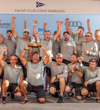 2019 52 Super Series winners Azzurra lift the trophy