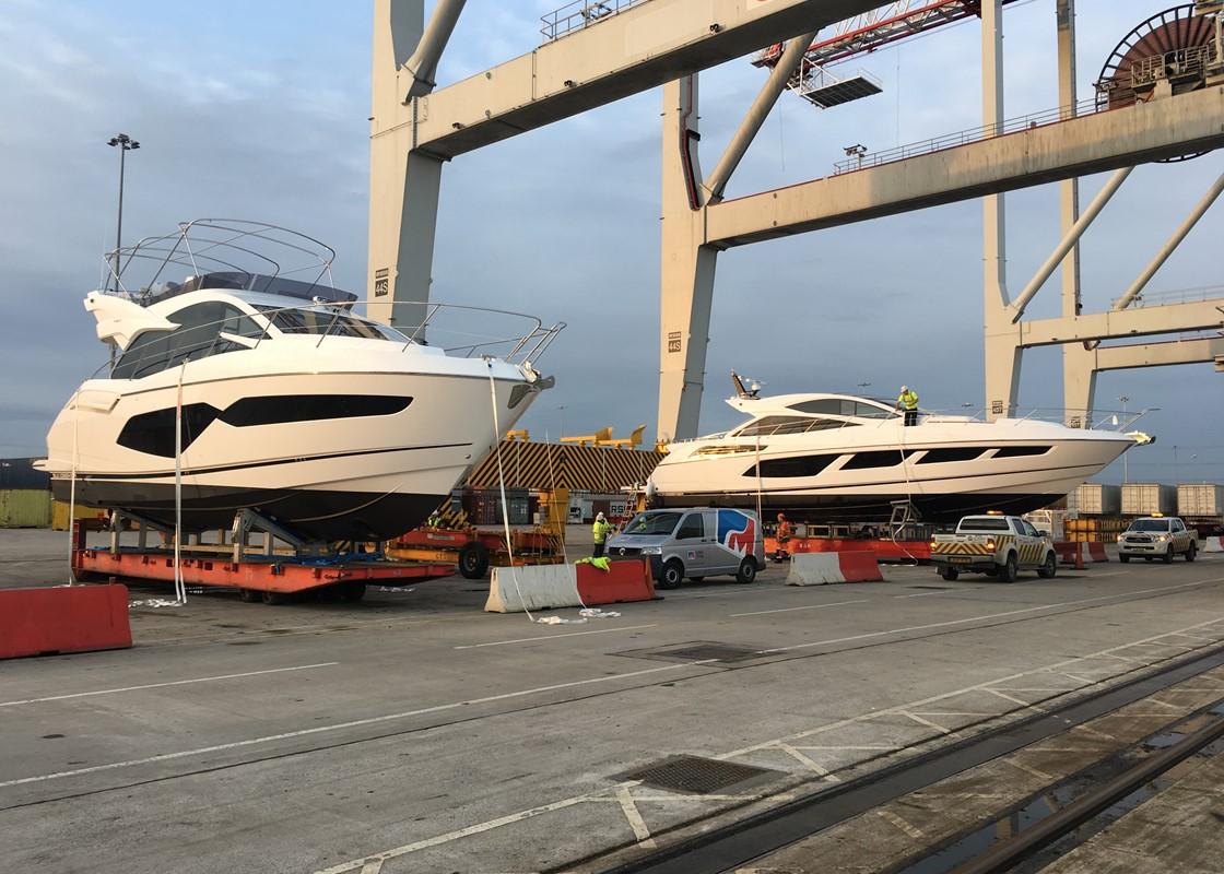 367c748c01b9 Sunseeker Manhattan 52 and Sunseeker Predator 68 shipped from Southampton  to Jebel Ali ...