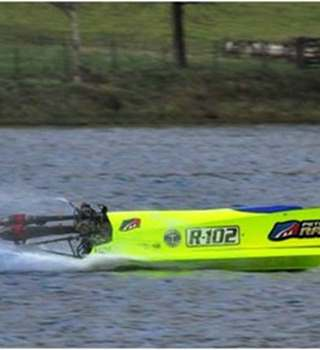 Young powerboat racer competing