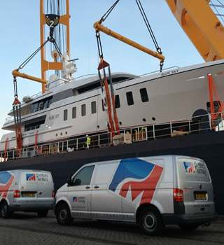 Feadship Superyacht loaded on deck