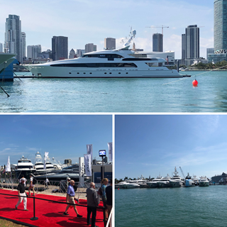 Collage of highlights from Miami International Boat Show 2019