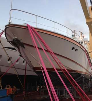 Pink Lashings securing a yacht on deck