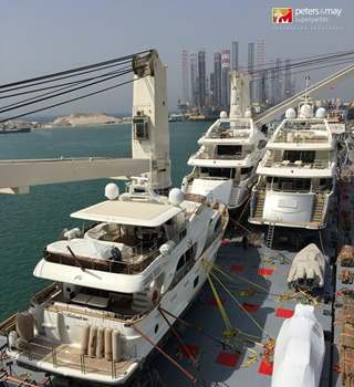 Yachts loaded and secured safely on deck ready for shipping