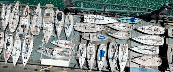 Full Deck of sailing yachts on Peters & May vessel