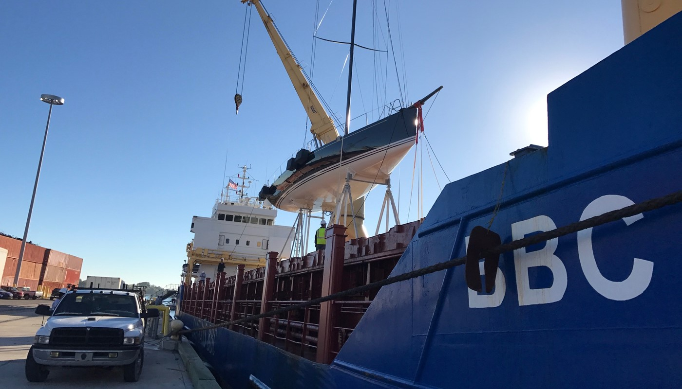 Racing yacht 'Belle Mente' loaded on board ready for shipping