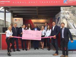 Peters & May present charity donation to the Breast Unit Charity at Southampton Boat Show 2018