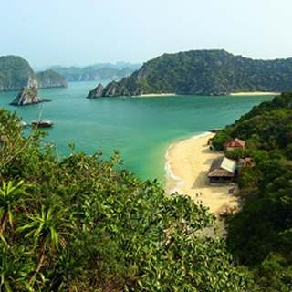 Hillside view overlooking bay and turquoise sea in Vietnam