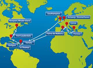 Map of Peters & May Transatlantic Sailings - ARC